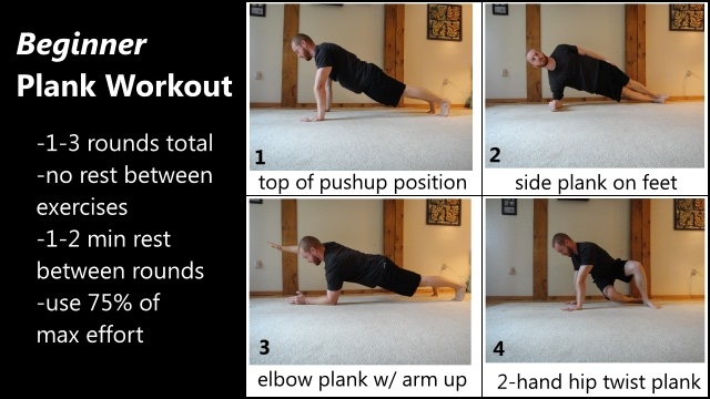 beginner level 3D plank workout for the abs and core
