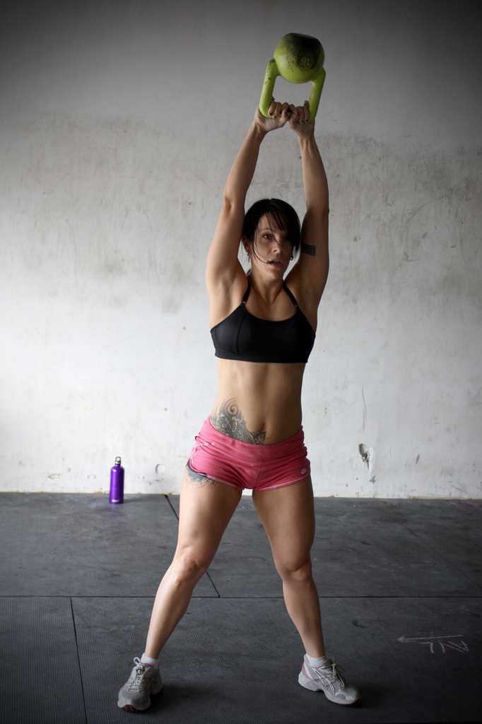 female kettlebell swing