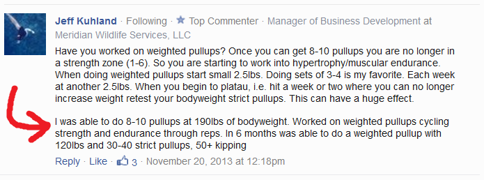 Jeff Kuhland - pull-ups comment