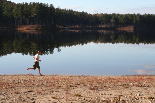 John running at Clough State Park, NH