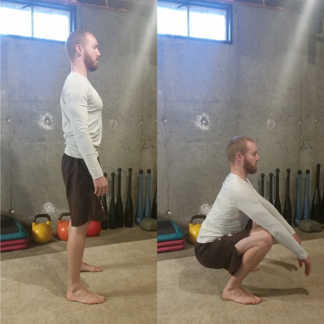 how to do body weight squats exercise - side view
