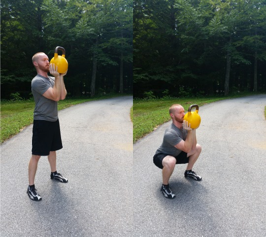 goblet squats with a kettlebell