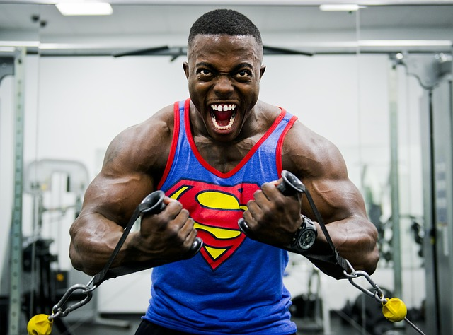 male bodybuilder superman shirt