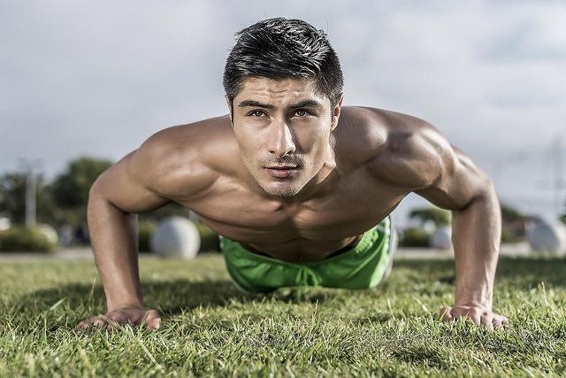 male pushups grass