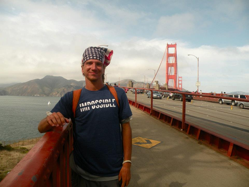 Nate Damm on the Golden Gate Bridge.
