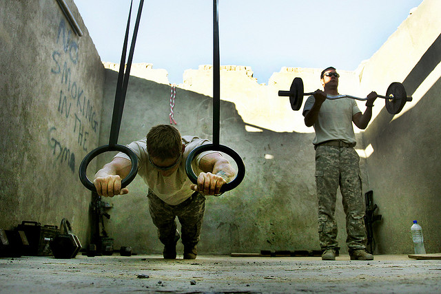 soldiers exercising
