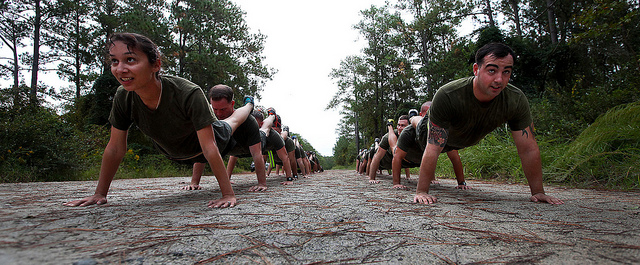 how many pushups should i be able to do - (soldiers doing pushups)