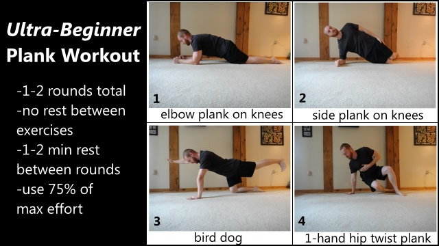 ultra beginner level 3D plank workout for the abs and core